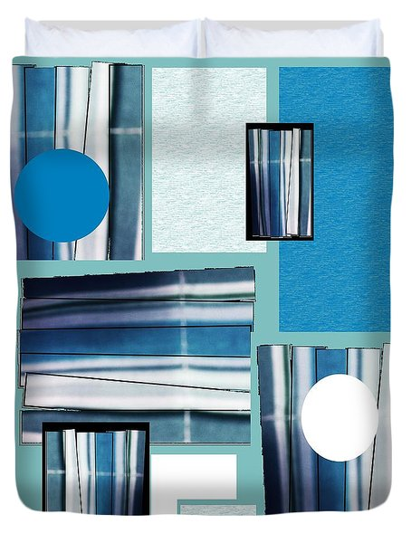 Blue Stacked Up Duvet Cover