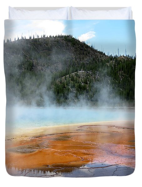 Duvet Cover featuring the photograph Blue Steam by Laurel Powell