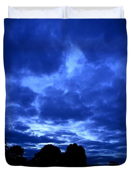 Duvet Cover featuring the photograph Blue Storm Rising by Mark Blauhoefer