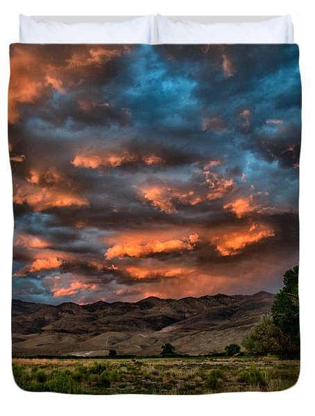 Blue Sunset Duvet Cover by Cat Connor