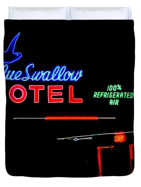Blue Swallow Motel Neon Sign Duvet Cover by Catherine Sherman