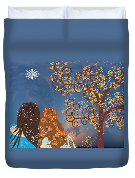 Duvet Cover featuring the digital art Blue Swirl Girls 2 by Kim Prowse