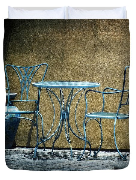 Duvet Cover featuring the photograph Blue Table And Chairs by Lucinda Walter