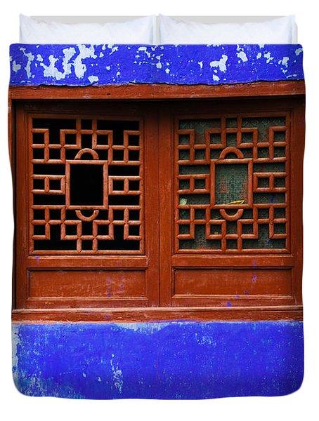 Blue Temple Wall Detail, Mingshan Duvet Cover