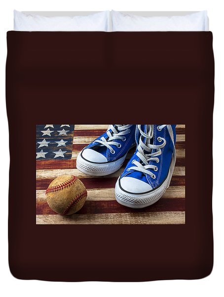 Blue Tennis Shoes And Baseball Duvet Cover by Garry Gay