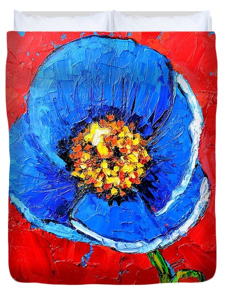 Blue Tibetan Poppy Duvet Cover by Ana Maria Edulescu