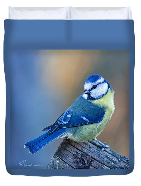 Blue Tit Looking Behind Duvet Cover by Torbjorn Swenelius
