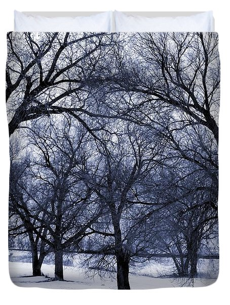 Blue Tone Trees Duvet Cover by Aliceann Carlton