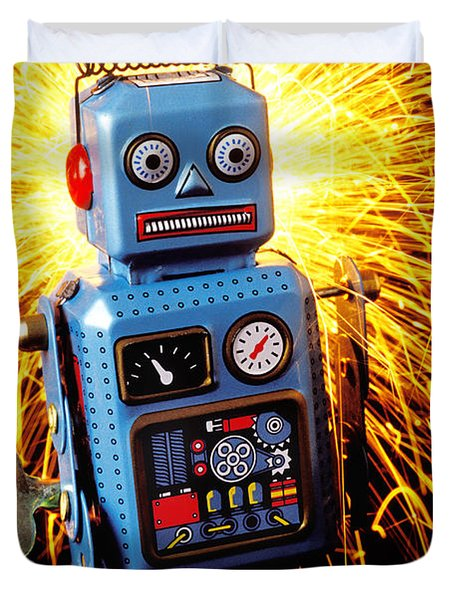 Blue Toy Robot Duvet Cover