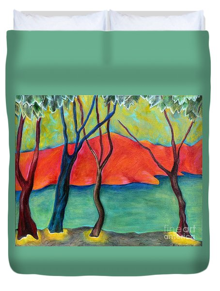 Duvet Cover featuring the painting Blue Tree 2 by Elizabeth Fontaine-Barr