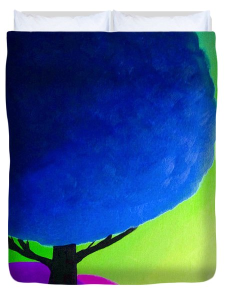 Duvet Cover featuring the painting Blue Tree by Anita Lewis