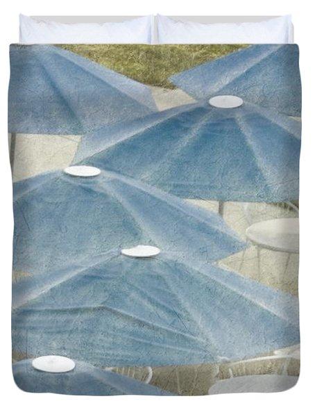 Blue Umbrellas And A Cola Duvet Cover