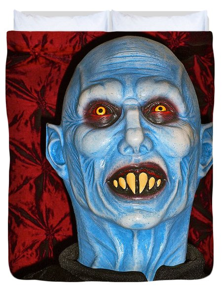 Duvet Cover featuring the photograph Blue Vampire by Joan Reese