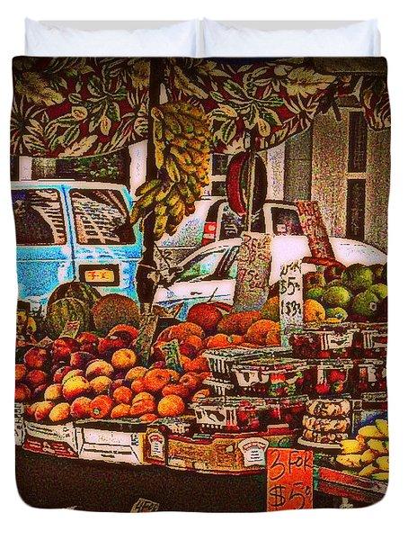 Duvet Cover featuring the photograph Blue Van by Miriam Danar