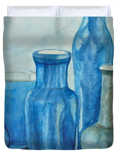Blue Vases I Duvet Cover by Anna Ruzsan