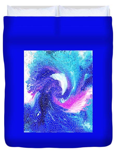Duvet Cover featuring the digital art Blue Vortex by Mariarosa Rockefeller