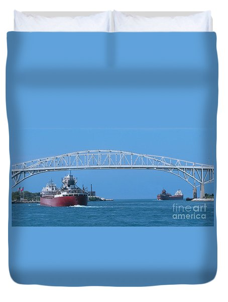 Blue Water Bridge And Freighters Duvet Cover