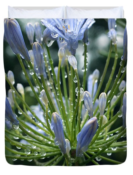 Duvet Cover featuring the photograph Blue Water Drops - 2 by Haleh Mahbod