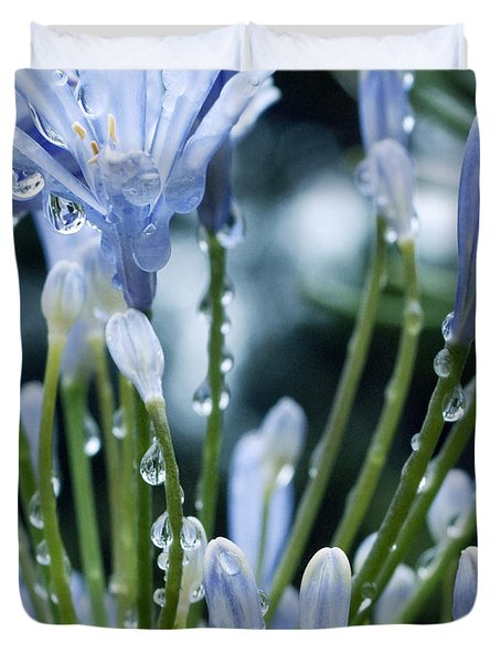 Duvet Cover featuring the photograph Blue Water Drops -3  by Haleh Mahbod