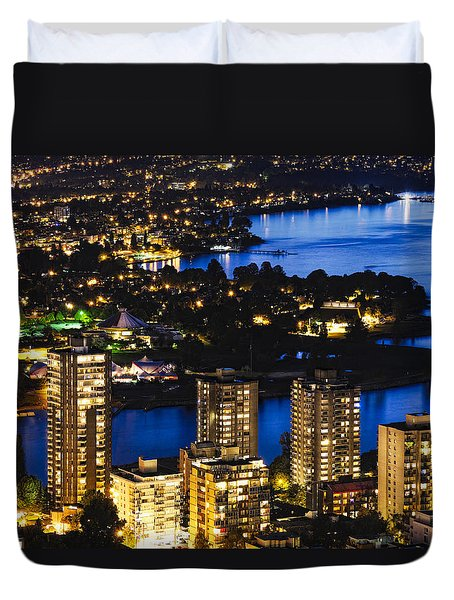 Duvet Cover featuring the photograph Blue Water Kitsilano Beach Mcdix by Amyn Nasser