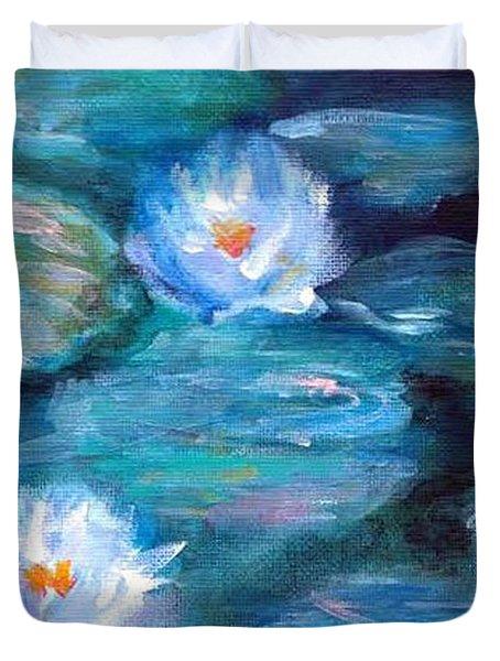 Blue Water Lilies Duvet Cover