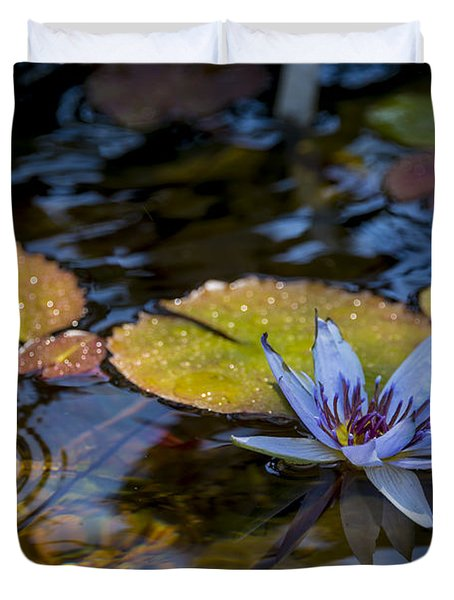 Blue Water Lily Pond Duvet Cover by Brian Harig