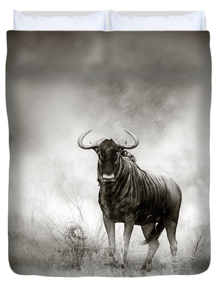 Blue Wildebeest In Rainstorm Duvet Cover