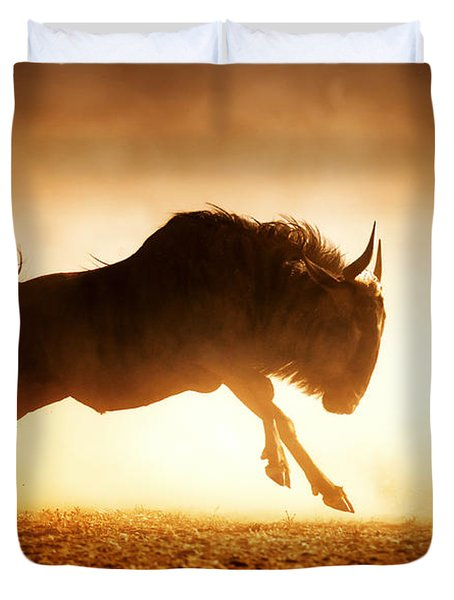 Blue Wildebeest Running In Dust Duvet Cover