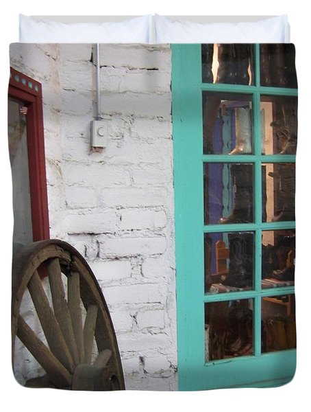 Duvet Cover featuring the photograph Blue Window And Wagon Wheel by Dora Sofia Caputo Photographic Art and Design