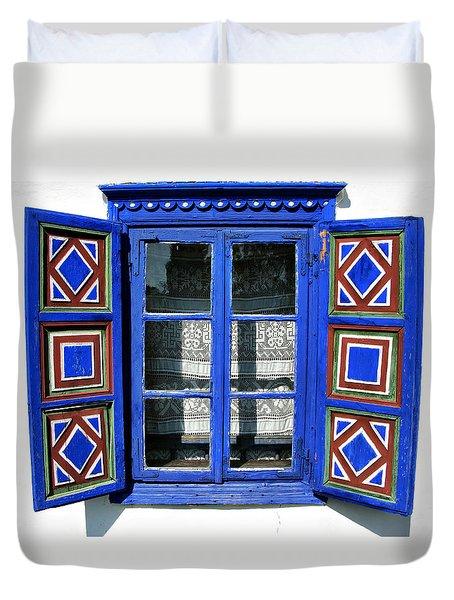 Blue Window Handmade Duvet Cover by Daliana Pacuraru