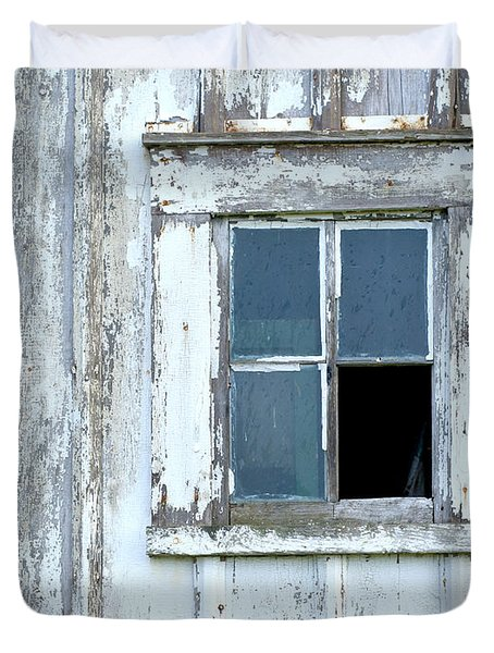 Blue Window In Weathered Wall Duvet Cover