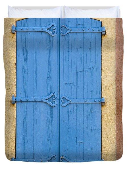 Blue Window Shutters Duvet Cover