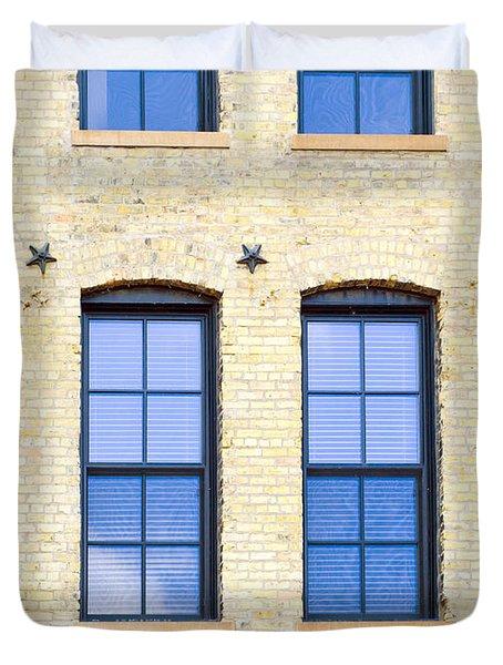 Blue Windows And Stars Duvet Cover