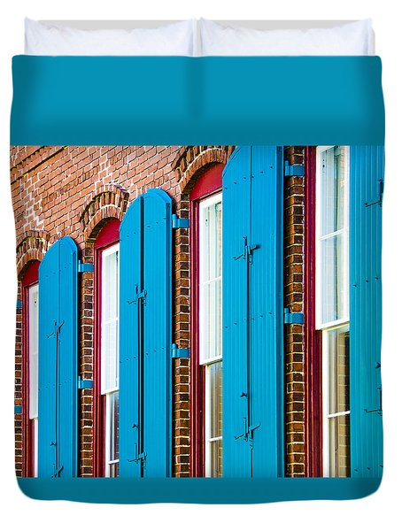 Duvet Cover featuring the photograph Blue Windows by Carolyn Marshall