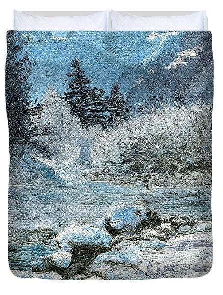 Duvet Cover featuring the painting Blue Winter by Mary Ellen Anderson