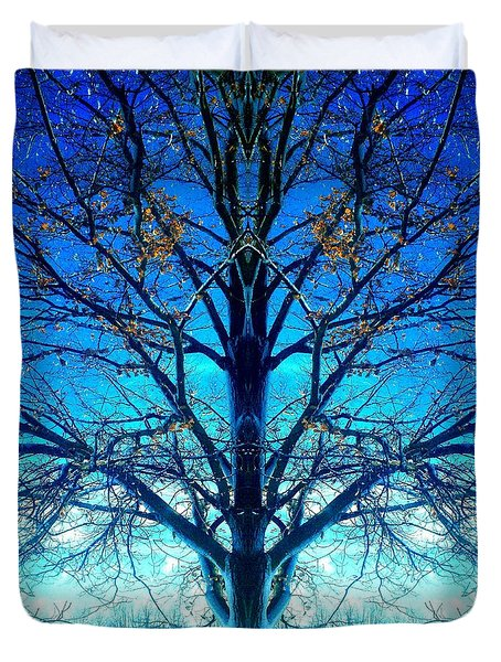 Duvet Cover featuring the photograph Blue Winter Tree by Marianne Dow