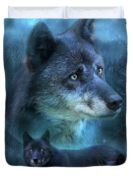 Blue Wolf Duvet Cover by Carol Cavalaris
