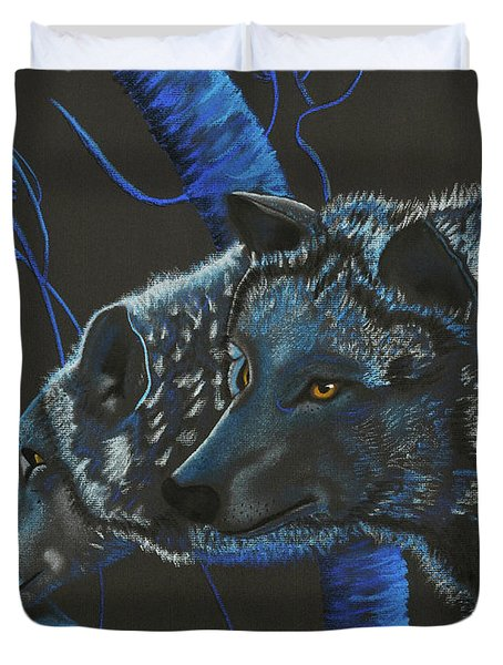 Blue Wolves Duvet Cover