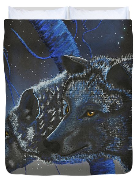 Blue Wolves With Stars Duvet Cover