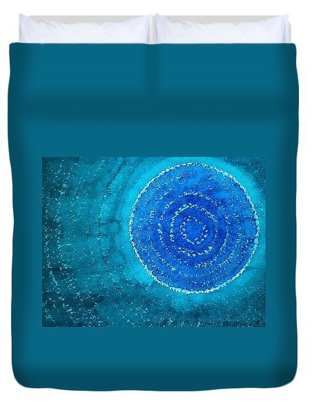 Blue World Original Painting Duvet Cover by Sol Luckman