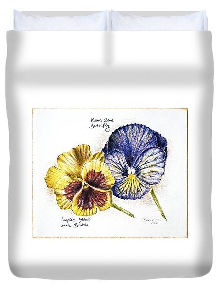 Blue Yellow Pansies Duvet Cover by Katharina Filus
