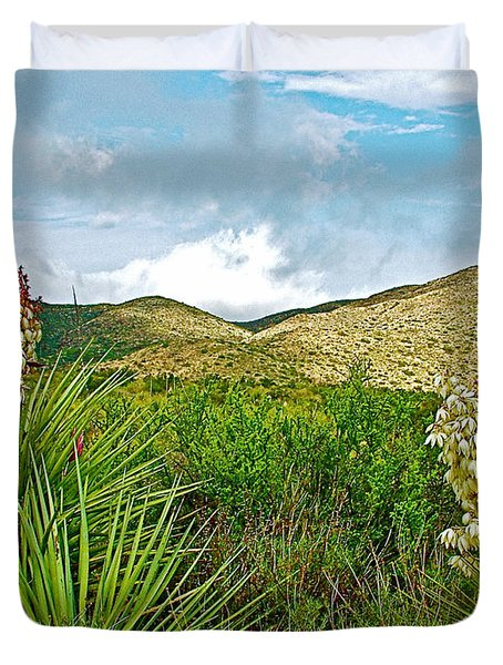 Blue Yucca And Chisos Mountains In Big Bend National Park-texas Duvet Cover