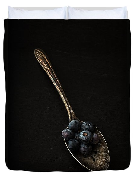 Blueberries On Silver Spoon Duvet Cover