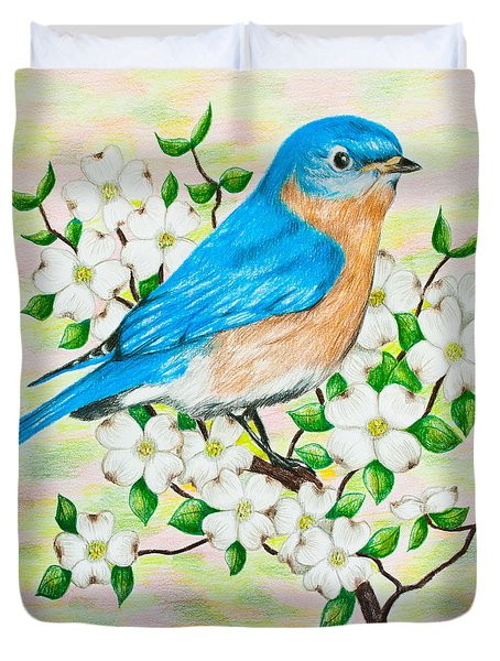 Bluebird And Dogwood Duvet Cover by Lena Auxier