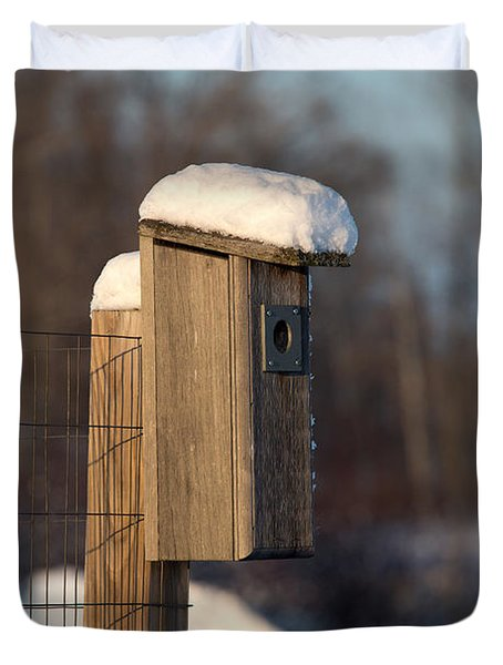 Bluebird House Covered With Snow Duvet Cover by Linda Freshwaters Arndt