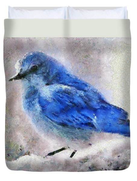 Duvet Cover featuring the painting Bluebird In Snow by Elizabeth Coats