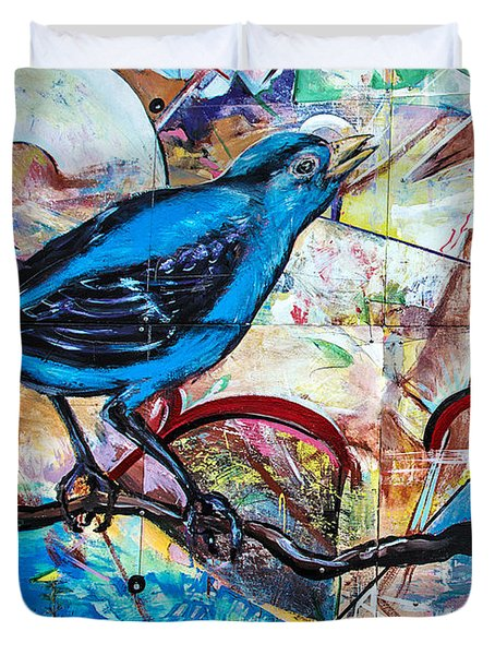 Bluebird Sings With Happiness Duvet Cover