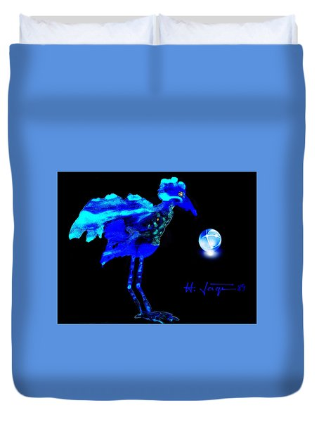 Duvet Cover featuring the painting Bluebird Watching by Hartmut Jager