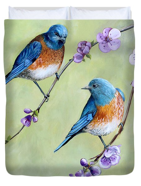 Duvet Cover featuring the painting Bluebirds And Blossoms by Debbie Hart