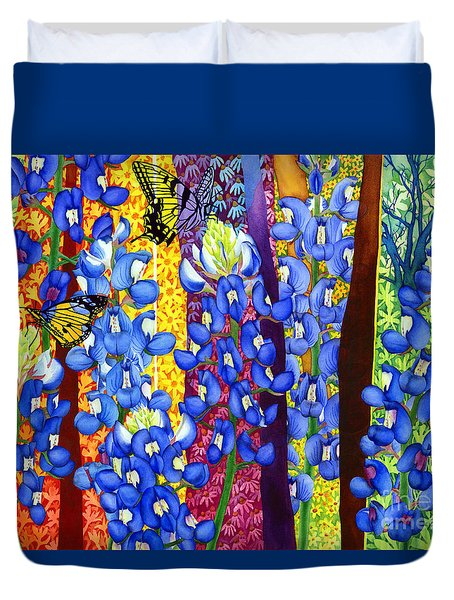 Duvet Cover featuring the painting Bluebonnet Garden by Hailey E Herrera